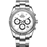 BUREI Mens Chronograph Watch Classic Quartz Watches White Dial Date Display Sapphire Crystal Lens with Silver Stainless Steel Band