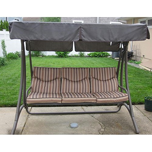 Garden Winds Flat Roof 3-Person Swing Replacement Canopy