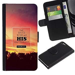 LASTONE PHONE CASE / Lujo Billetera de Cuero Caso del tirón Titular de la tarjeta Flip Carcasa Funda para Apple Iphone 5 / 5S / BIBLE The Skies Display His Craftmanship - Psalm 19:1