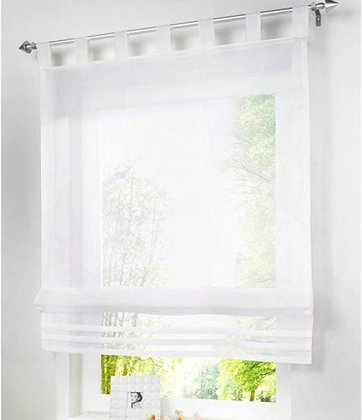 80cm,100cm,120cm Raffrollo mit Schlaufen transparent grau  Breite