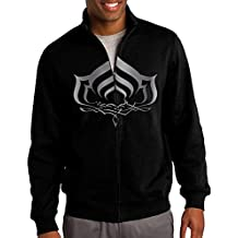 Men Warframe Logo 3 Platinum Style Zip-up Jacket Sweatshirt Black