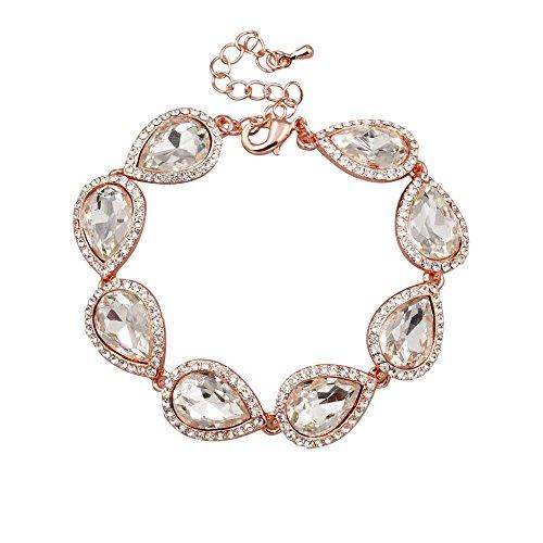 Iris Island Women's Rose Gold Plated Clear Austrian Crystal Bridal Teardrop Bracelet for wedding by Iris Island