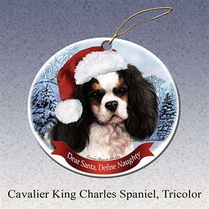 Holiday Pet Gifts Cavalier King Charles Spaniel, Tricolor Santa Hat Dog Porcelain Christmas Tree Ornament - Cavalier Spaniel Tri Color