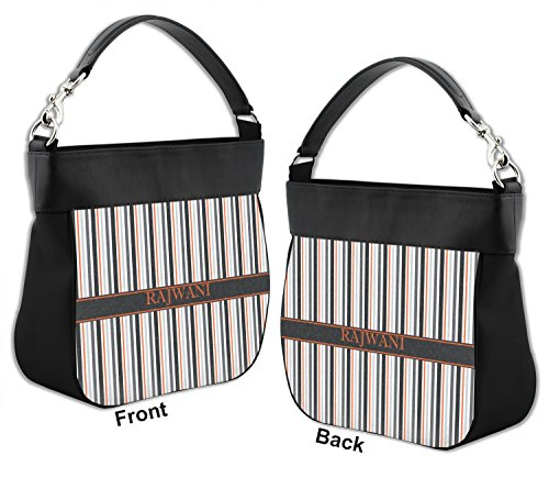 amp; Trim Genuine w Personalized Stripes Front Hobo Gray Leather Purse Back qw8YIg