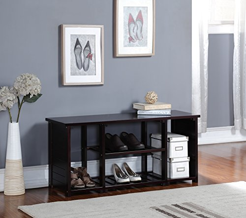 Espresso Finish Solid Wood Storage Shoe Boot Bench Shelf Rack