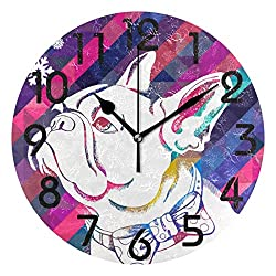 Dozili French Bulldog Round Wall Clock Arabic Numerals Design Non Ticking Wall Clock Large for Bedrooms,Living Room,Bathroom