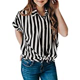 Leoy88 Women's Casual Short Sleeve Striped Tie T-Shirt Blaouse Tops with Buttons Black