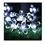 DWR Solar String Lights ,50 LED Waterproof Peach Blossom Christmas Decorative Lamp Fairy Lights for Outdoor, Garden, Home, Wedding, Xmas Tree New Year Party (warm white)