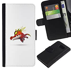 KLONGSHOP // Tirón de la caja Cartera de cuero con ranuras para tarjetas - Monstruo lindo P0kemon - Samsung Galaxy S6 //