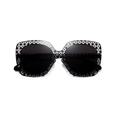 5df2db4a351 YUBIN Korea Net Red Personality Sunglasses Female Tide Hollow Star Models  Ultralight Sunglasses Big Box Round Face Glasses (Color   BLACK)   Amazon.co.uk  ...