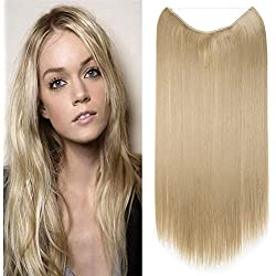 """Women Rubber Band Full Head Hair Extensions 24"""" 125G Curly Wave Straight Brown Blonde Black Natural Synthetic Wire in Hair Extension no Clip no Tape(24"""" straight ash blonde)"""