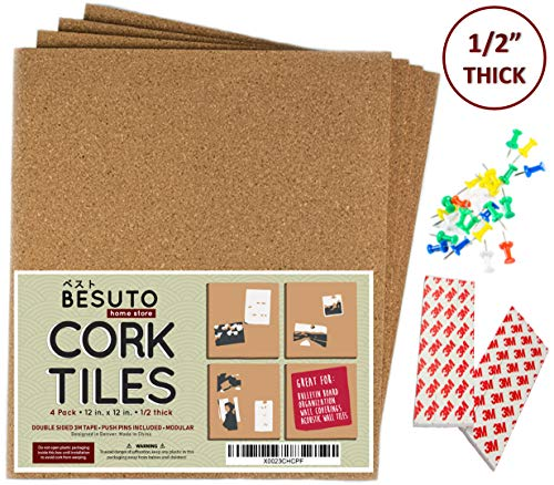 """Premium Square Cork Board Tiles by BESUTO 12""""X 12"""" - 1/2"""" Thick Cork Board - Bulletin Board - Extra Strength 3M Adhesive Squares Included - 4 Pack Frameless Cork Tiles for Wall - Bonus Push Pins"""