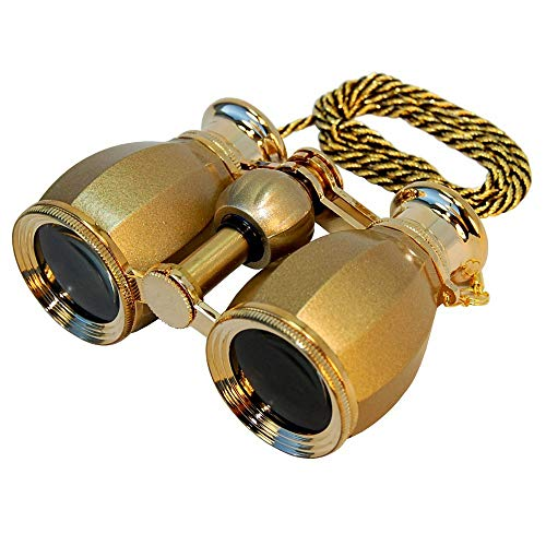HQRP Antique Style Golden Binoculars w/Crystal Clear Optic (CCO) w/Golden Trim w/Necklace Chain for Races, Opera, Theatres, Circus Show, Open Air Concerts, Fairs, Football Baseball Matches, Parades