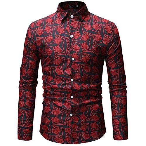 (Spring Summer Male Floral Print Dress Shirts Mens Shirt Slim Fit Ethnic Flowers Long Sleeve Casual Tops Men,ML24 Black,XXL)