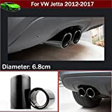 2pcs New Car Chrome Stainless Steel Exhaust Tail Pipe Tip Tailpipe Muffler Pretector Cover Trim Emblems Black Color Custom Fit For Volkswagen VW Jetta 2009 2010 2011 2012 2013 2014 2015 2016 2017 2018