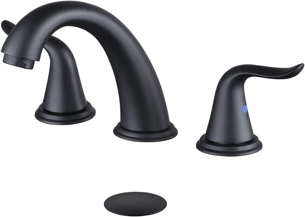 WOWOW Widespread Bathroom Faucet 3 Hole Black Widespread Faucet 8 Inch Center Bathroom Faucets Pop Up Drain Assembly Vanity Faucet Double Handle High Arc Lavatory Bathroom Basin Faucet Sink Faucets