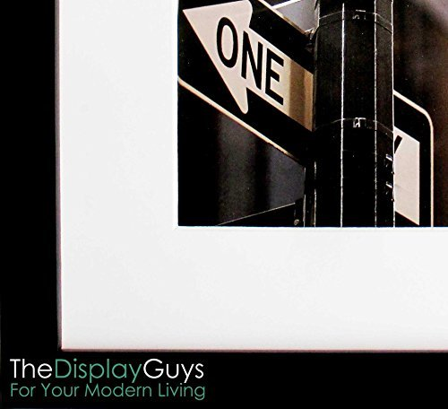 The Display Guys~ 5x7 Inch Matte Black Solid Pine Wood Photo Frame, Real Glass, Luxury Made Affordable, With White Core Mat Boards for 4x6 Picture
