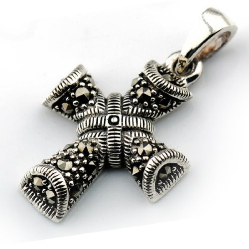 K-ELITE X Shape Cross Silver 925 and Marcasite Pendant 4.2 Grams