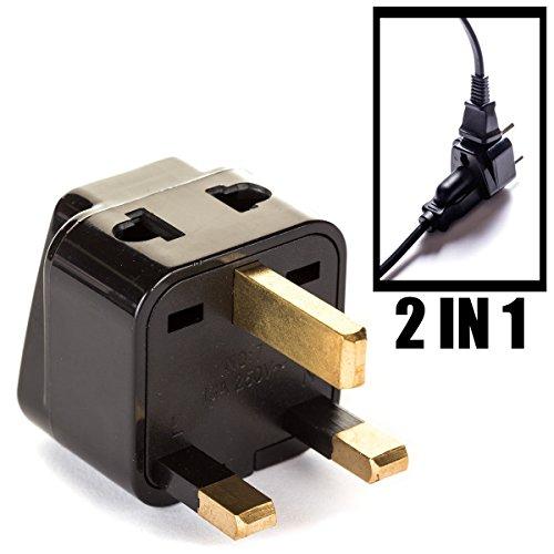 UK, Hong Kong Travel Adapter Plug, OREI Adaptor 2 in 1, For Botswana, England, UAE, Dubai - Safe Grounded Connection - Universal Socket - 4 Pack ()