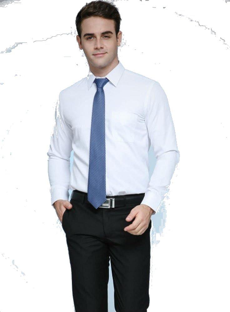 Men Dress Long Sleeve Shirts Formal Business Suit Shirt DP Material White