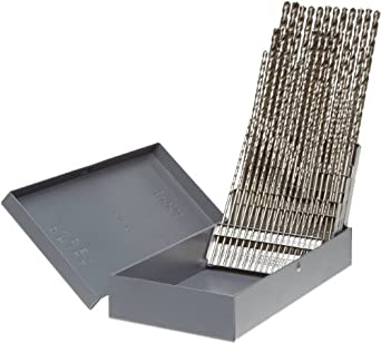 Precision Twist C60R52 High Speed Steel Long Length Drill Bit Set, Uncoated (Bright) Finish, 118 Degree Point, Wire Size, 60 piece, #60 to #1