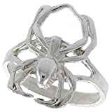 Sterling Silver Spider Ring Polished finish 11/16 inch wide, size 7