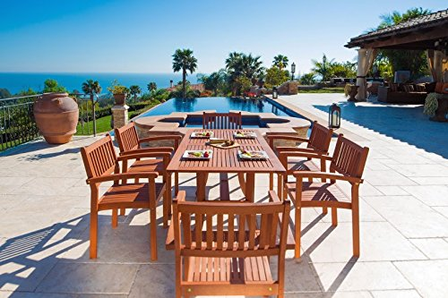 Vifah V187SET4 Bayeux Outdoor 7-Piece Wood Patio Dining Set with Stacking Chairs, Natural - Included 1 rectangular table with umbrella hole, 6 chairs No cushion or pillows included 1-year warranty against manufacturing defects - patio-furniture, dining-sets-patio-funiture, patio - 51N6gpZWPeL -