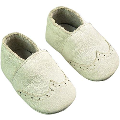 Fire Frog Baby Genuine Leather Shoes - Zapatos primeros pasos de piel auténtica para niño blanco
