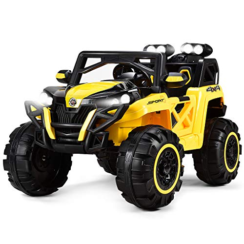(Costzon Kids Ride On Truck, 12V Battery Powered Vehicle W/ 2.4G Wireless Bluetooth Parental Remote Control & Manual Modes, LED Lights, Music, MP3, USB, TF, Horn, Volume Controller (Yellow & Black))