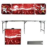 NCAA York College Cardinals Lightning Version Portable Folding Tailgate Table, 8'