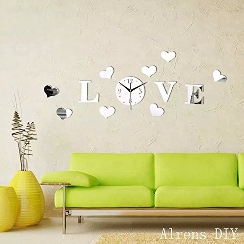 Alrens_DIY(TM)Silver Creative Love Heart Boutique Store Art Mordern Luxury Design DIY Acrylic Non-ticking Quiet Quartz Wall Clock Watch Removable 3D Crystal Mirror Wall Clock Wall Sticker Home Decor Art Living Room Bedroom Office Decoration by Alrens (Image #3)