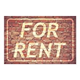 CGSignLab | ''For Rent -Ghost Aged Brick'' Repositionable Opaque White 1st Surface Static-Cling Non-Adhesive Window Decal (5-Pack) | 36''x24''