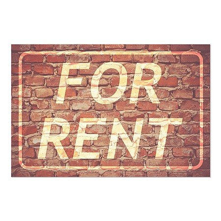 CGSignLab | ''For Rent -Ghost Aged Brick'' Repositionable Opaque White 1st Surface Static-Cling Non-Adhesive Window Decal (5-Pack) | 36''x24'' by CGSignLab
