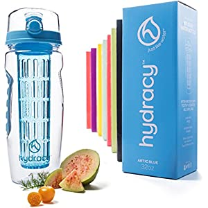 Hydracy Fruit Infuser Water Bottle - 32 Oz Sport Bottle with Full Length Infusion Rod and Insulating Sleeve Combo Set + 25 Fruit Infused Water Recipes eBook Gift - Artic Blue