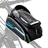 Sireck Phone Holder Bike Bag, Waterproof Top Tube Bicycle Frame Bag, 6.5 inch Touchscreen Cycling Cellphone Mount Pannier Accessories for iPhone Xs Max, Huawei