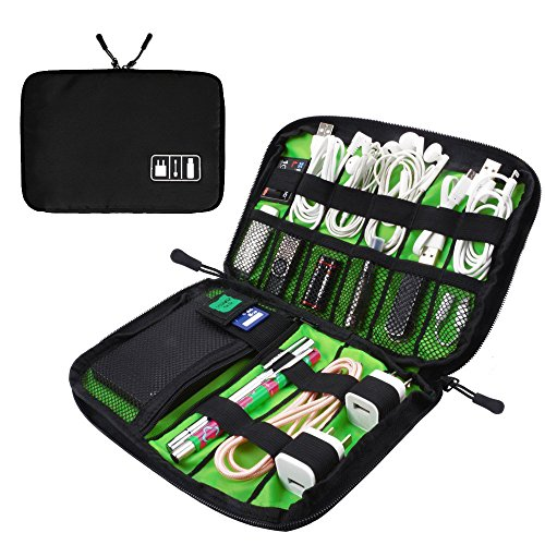 Travel cable organizer (Black) for Electronics Accessories, USB cables, Phone Charger and Cable by Roots Generation