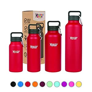 Healthy Human Stainless Steel Insulated Water Bottle Thermos - BPA Free Cap with Hydro Guide & Carabiner Set - Red Hot - 40 oz