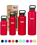 Healthy Human Double Walled Insulated Stainless Steel Water Bottle Thermos with Carabiner - Red Hot - 16 oz