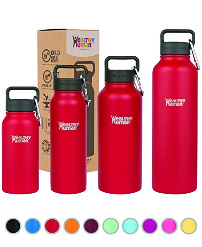Healthy Human Stainless Steel Insulated Water Bottle Thermos - BPA Free Cap with Hydro Guide & Carabiner Set - Red Hot - 32 oz