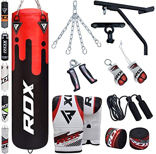 Muay Thai Bag Training - RDX Punching Bag Filled Wall Bracket Boxing Training MMA Heavy Punch Gloves Chain Ceiling Hook Muay Thai Kickboxing 14PC Martial Arts 4FT 5FT Set