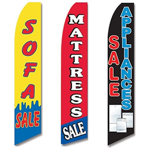 3 Swooper Flags Welcome Home Appliances Open Mattress   Sofa Sale