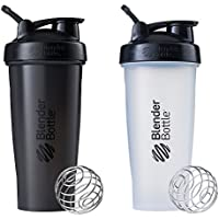 2 Pack Blender Bottle Classic Loop Top Shaker Bottle, 28-Ounce (All Black and Clear/Black)