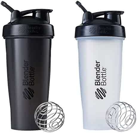 Blender Bottle Classic Loop Top Shaker Bottle, 28-Ounce 2-Pack, All Black and Clear/Black