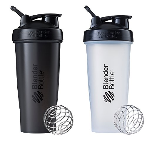 Blender Bottle Classic Loop Top Shaker Bottle, All Black and Clear/Black, 28-Ounce 2-Pack