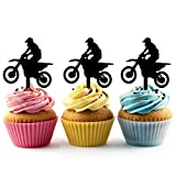TA0198 Extreme Motocross Racing Silhouette Party Wedding Birthday Acrylic Cupcake Toppers Decor 10 pcs