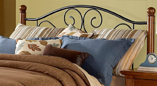 Doral Headboard With Dark Walnut Wood Posts And Metal Grill Matte Black Finish Queen Furniture