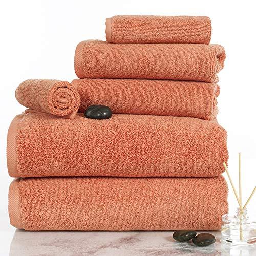 Lavish Homes 67-0017-BRI 6 Piece Cotton Towel Set44; Brick