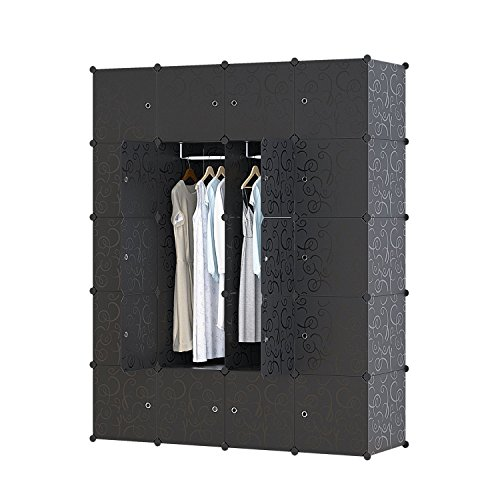 UNICOO Multi Use DIY Plastic 20 Cube Organizer, Bookcase, Storage Cabinet, Wardrobe Closet Black with Black Door (Deeper Cube- Black Doors)