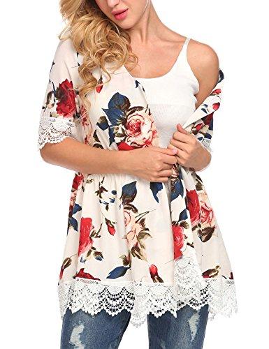 Elover Women Flowy Sheer Crop Sleeves Loose Chiffon Kimono Cardigan Blouse (Flowy Sheer)