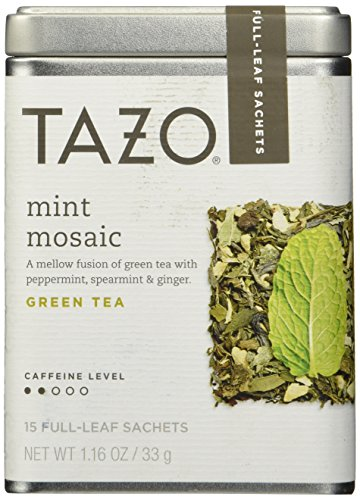 Tazo Mint Mosaic Green Tea, 1 Pack with 15 Full-Leaf Sachets - Full Leaf Tazo Tea